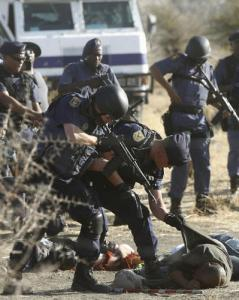 Massacre of striking miners in South Africa