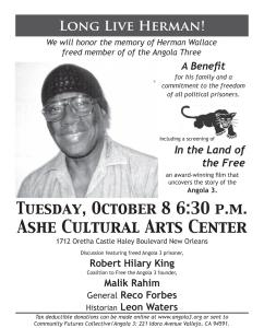 Oct. 8 Nola Benefit for Herman Wallace's service
